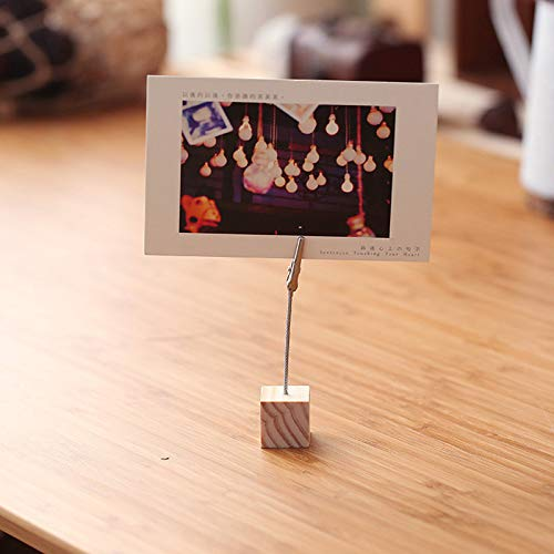 1 PCs by Rocco wood cube picture stand holder clip school office supplies tools desk accessories organizer Best Quality Card Holder /& Note Holder