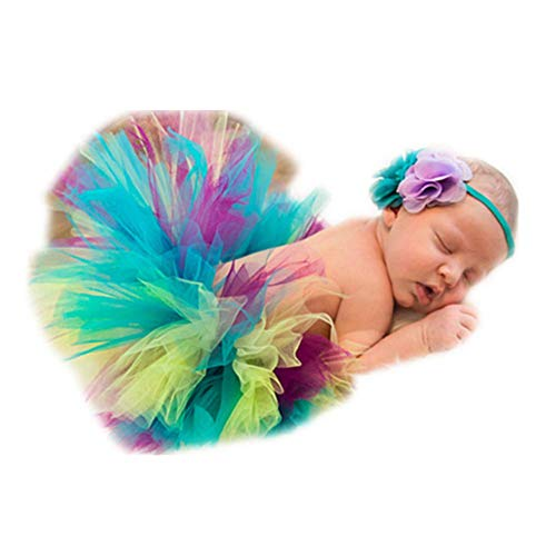 Vemonllas Fashion Newborn Girls Baby Handmade Outfits Photography Props Tutu with Flower Headdress (Multi) ()