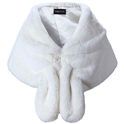 Caracilia Warm Faux Fur Wedding Shawl Wrap for Wedding Party Show CA95 , Ivory2 , Small]()