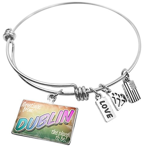 NEONBLOND Expandable Wire Bangle Bracelet Greetings from Dublin, Vintage -