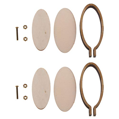SM SunniMix 2 Set Mini Wooden Cross Stitch Hoop Ring Embroidery Circle Sewing Kit Frame Craft - Cat/Heart/Oval/Square/Rectangle - Oval Vertical