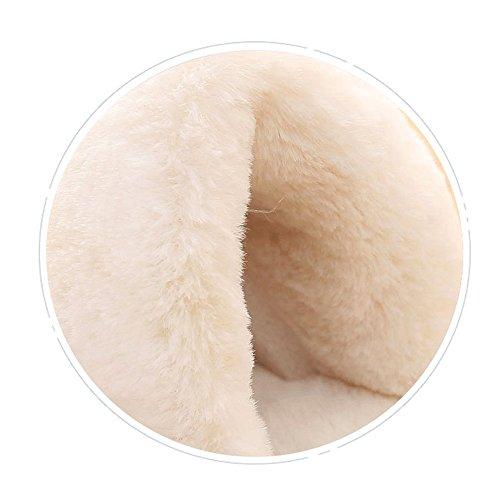 Lingmin Femmes En Peluche Fourrure Slip-on Confort Lanière Pantoufle Intérieure, Confortable Anti-dérapant, Douceur Terry-cheville Kaki