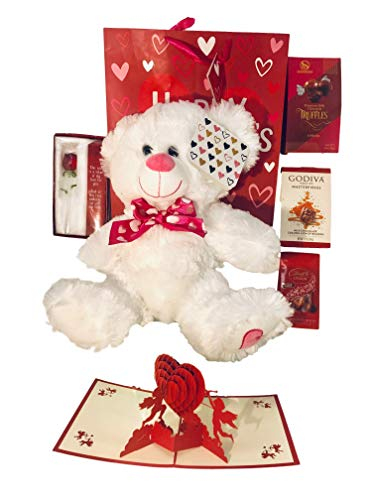 Valentines Day Gift Basket Set | 12 Inch Teddy Bear Plush| 3D Cupids card|Glass Rose| Lindt Lindor Milk Truffles| Godiva Masterpieces| Sherwood Premium Milk Chocolate| V-Day Gift Bag. (Show Love)