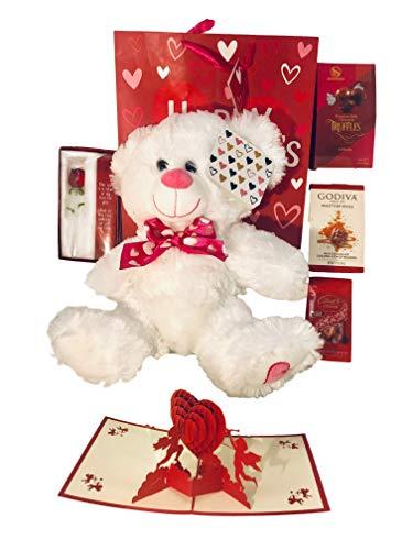 (Valentines Day Gift Basket Set | 12 Inch Teddy Bear Plush| 3D Cupids card|Glass Rose| Lindt Lindor Milk Truffles| Godiva Masterpieces| Sherwood Premium Milk Chocolate| V-Day Gift Bag. (Show Love) )