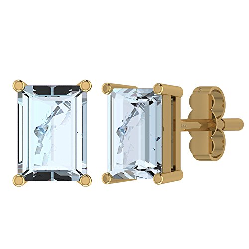 14k Genuine Aquamarine Earrings - 1.90ctw,Genuine Aquamarine 14K Gold Post & Solid 925 Sterling Silver Stud Earrings