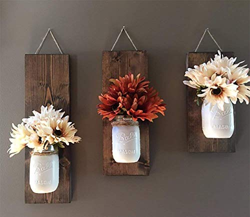 Rustic Wood Wall Sconce, Floral Wall Sconce Set, Mason Jar Wall Sconce