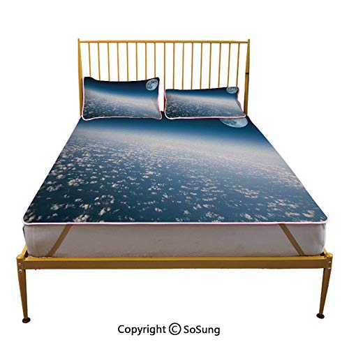 Space Creative King Size Summer Cool Mat,Aerial Atmosphere View of The Planet Earth with Moon Satellite World Horizon Picture Sleeping & Play Cool Mat,Light Blue