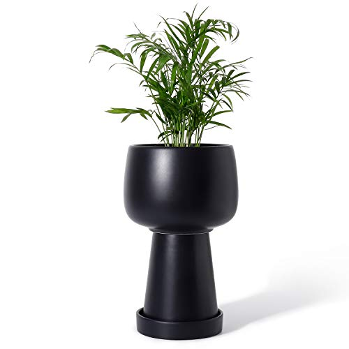 3-Piece Separated Ceramic Planter Pot – 5.3 Inch Indoor Planters Bonsai Container with Drainage Hole & Saucer for Plants…