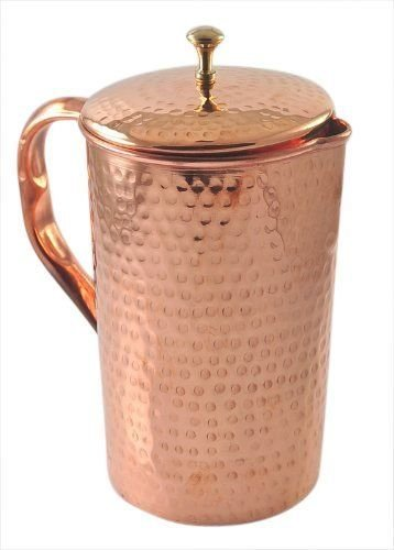 - Pure Copper Pitcher (in/out) hammered with cover 62 oz Jug Ayurveda Yoga Health