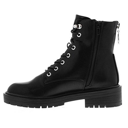 Stepper Boots Donna Firetrap Robusto Con Cerniera In Pelle Nera Mezza Superiore
