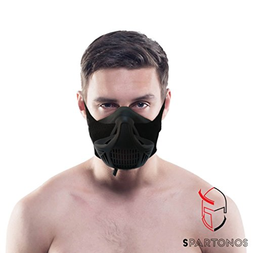 Spartonos Training Mask - Altitude Breathing Mask for Cardio & Workout Exercise - Air Resistance Endurance Mask for Breathe Control - Running Mask w/Adjustable Strap & 6 Intensity Option