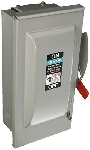 SIEMENS GF322NR 60 Amp, 3 Pole, 240-Volt, 4 Wire, Fused, General Duty, Outdoor Rated by Siemens