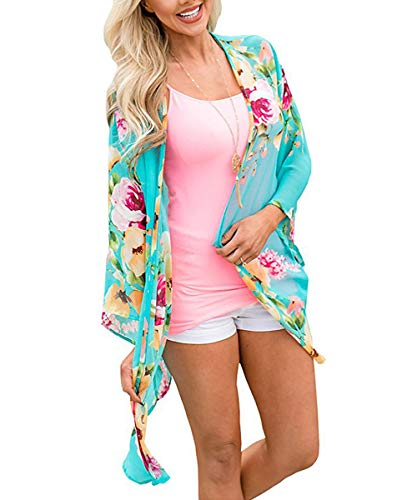 Womens Bathing Suit Floral Cover Ups Casual Kimono Bell Sleeve Summer Swimwear Beachwear Bikini Cardigan Aqua Blue-4 L