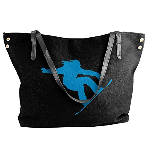 Black Messenger Handbag Snowboarding Tote Women's Shoulder Canvas Large Silhouette Girl Bags ZUw4qHvHfx