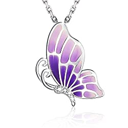 Sterling Silver Pendant Necklace Wings with Cubic Zirconia Stones