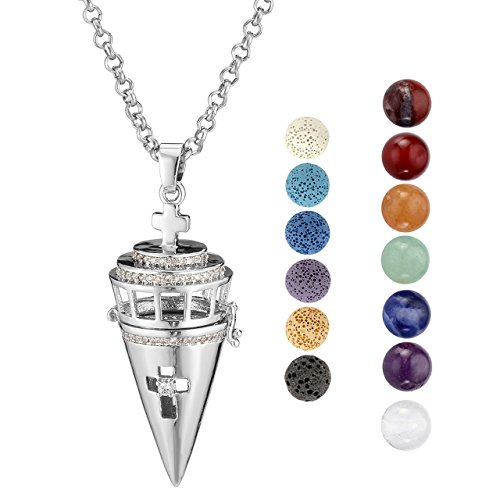 26' Long Necklace - Top Plaza Aromatherapy Essential Oil Diffuser Necklace Silver Tone Rhinestones ZirconiaHollow Cone Locket Pendant W/6 Dyed Lava Rock and 7 Chakra Crystals Balls