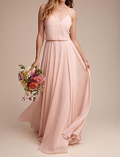 Gown Botong Dresses Mint V Straps Prom Formal Spaghetti Chiffon Neck Bridesmaid Pink wqBvgwZ