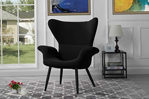 (Monowi Velvet Accent Armchair, Futuristic Style Living Room Accent Chair (Black) | Model CCNTCHR - 197)