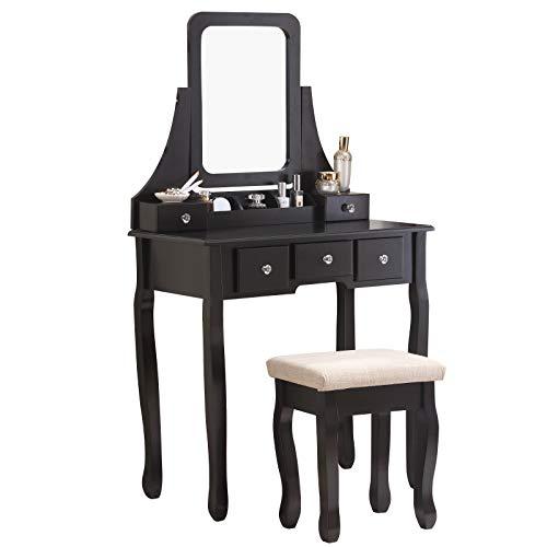 Nolany Vanity Table with Stool Set Makeup Vanity Set with 5 Drawers Mirror Bedroom Black Makeup Vanity Table Set (And Mirror Table Set Foyer)