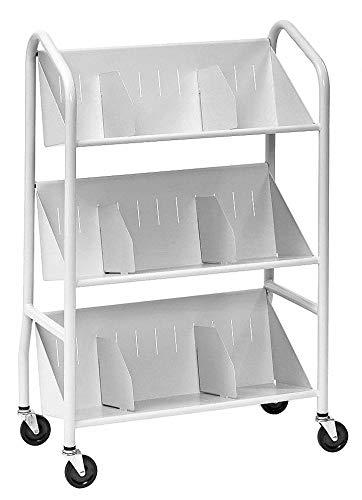 Steel Book Cart with 3 Sloped Shelves, Platinum