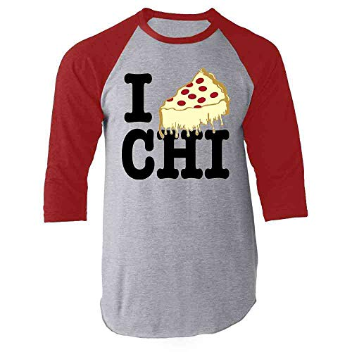 I Pizza Chicago Style Deep Dish Love Red L Raglan Baseball Tee Shirt (Best Delivery Deep Dish Pizza)