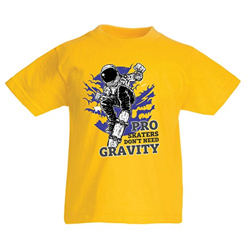 T Shirts For Kids Pro Skaters Don't Need Gravity - Skateboard Sayings, Skate Life Quotes (3-4 Years Yellow Multi Color)