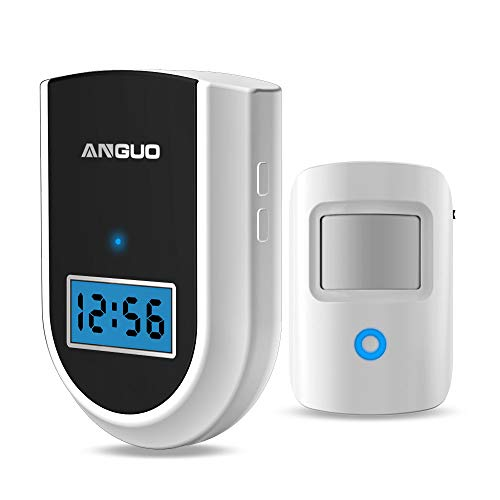 Wireless Doorbell, ANGUO Motion Sensor Alarm, Wireless Driveway Alert, Home Security System Alarm with 1 Sensor and 1 Receiver(White,No Battery Included)