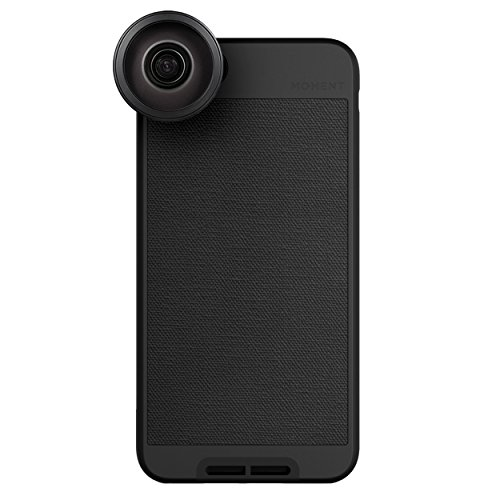 iPhone 8 Plus / iPhone 7 Plus Case with Fisheye Lens Kit || Moment Black Canvas Photo Case plus Superfish Lens || Best iphone fisheye attachment lens with thin protective case. by Moment