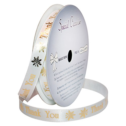 Gold Polyester Ribbon (Morex Ribbon Special Occasions Ribbon: Thank You, Polyester, 3/8-Inch by 10-Yard, White/Metallic Gold Print, Item 90202/10-08)