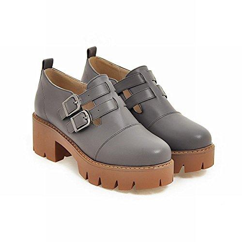 Charm Foot Mujeres Western Platform Hebilla Gruesa Oxford Zapatos Gris