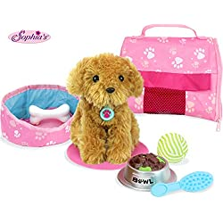 """Sophia's Pets for 18"""" Dolls, Complete Puppy Dog Play Set, Perfect Doll Toy for 18"""" American Girl Dolls & More! Cuddly Dog, Leash, Carrier, Bed, Food & Play Dog Accessories by"""