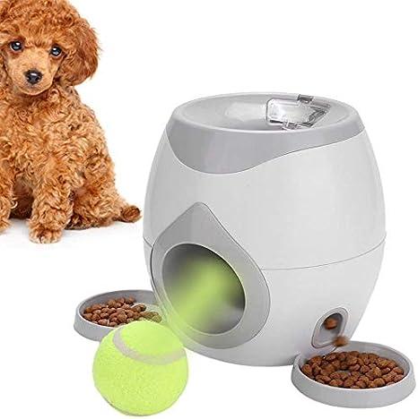Perros Lanzadores de Bolas interactivos Mascota automática Máquina de lanzar Tenis Divertido Dispensador de Alimentos Juego de recompensa Comedero Lento Iniciador con Placa removible