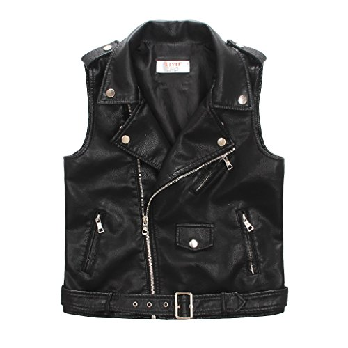LJYH Faux Leather Motorcycle Dress Casual Boys Joker Vest (Black) 5-6years -