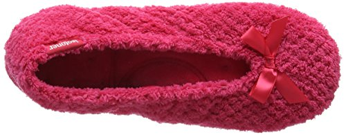 Isotoner Damen Ladies Popcorn Ballet Slippers Niedrige Hausschuhe Pink (Hot Pink)