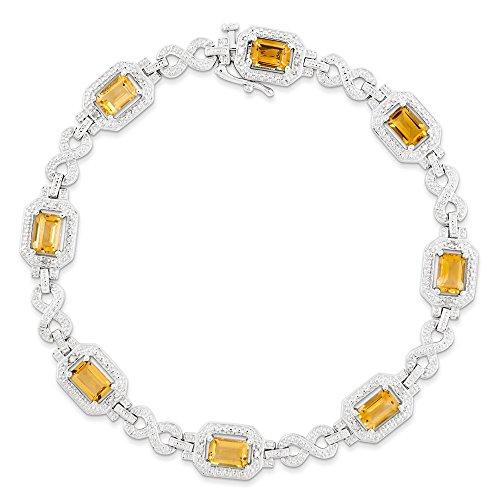 Argent Sterling diamant et Citrine JewelryWeb-Bracelet