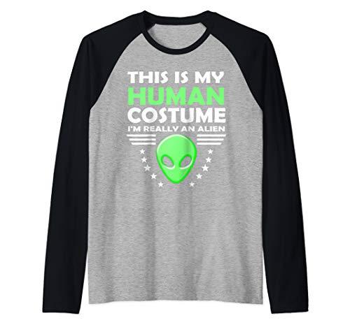 (Human Costume Gift for Girls Boys Men and Women Funny Alien Raglan Baseball)