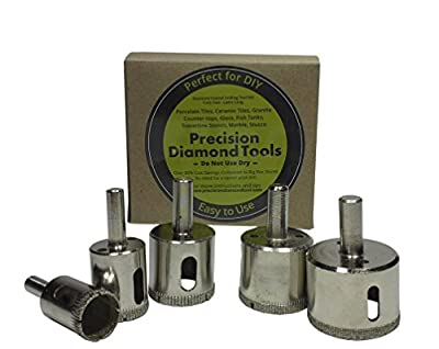 "Precision Diamond Tools 5 Diamond Dust Hole Saw for Tile / Glass/ Marble / Granite / Ceramic / Porcelain / Stone Holesaw 3/4"", 1"", 1-3/16"", 1-3/8"", 1-5/8"" Electroplated Diamond Drill Bits from Precision Diamond Tools"