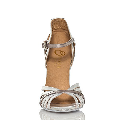 Dance Silver Out Cut Ballroom Sandals Latin Satin MINITOO 6 Stylish UK TH018 Taogo Wedding Ladies qXn8tP