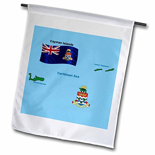 White Flag And Map Of Cayman Islands Shoeing Both Grand Cayman And Lesser Caymans And The Coat Of Arms Decorative Garden Flag for Home Indoor Outdoor Durable Polyester Flag 12 x 18 Inch Double (Cayman Islands Wedding)
