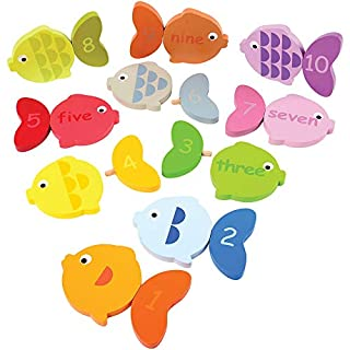 Constructive Playthings 20 pc. Wooden Fish Tales Number Match with 2 Ways to Match for Ages 3 Years and Up