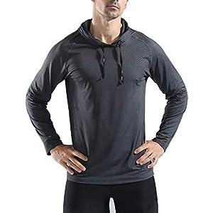 Rdruko Mens's Active Gym Muscle Bodybuilding Long Sleeve Hoodies Workout Running Hooded Sweatshirts