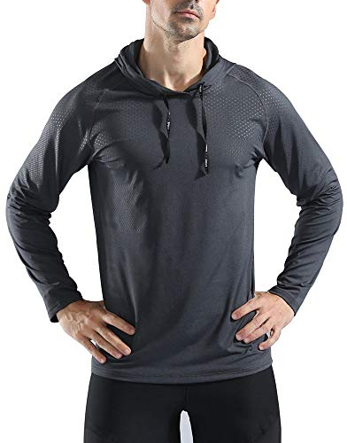 Rdruko Mens's Active Gym Muscle Bodybuilding Long Sleeve Hoodies Workout Hooded Sweatshirts(Black, US XL)