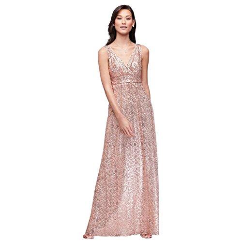 - David's Bridal Sequin V-Neck Bridesmaid Dress with Satin Piping Style F19787, Rose Gold, 10