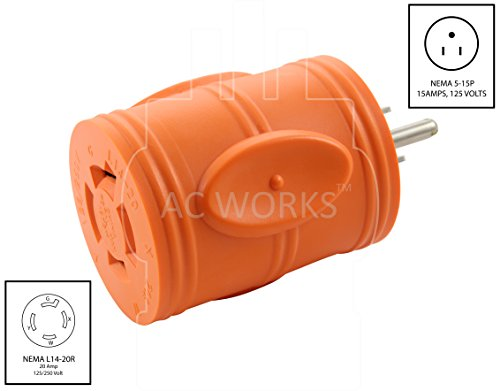 AC WORKS [AD515L1420] 15Amp Household Plug NEMA 5-15P to Generator 4 Prong 20Amp L14-20R (Two hots bridged) by AC WORKS (Image #1)