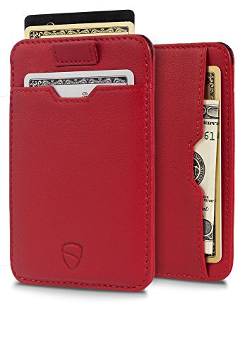 Chelsea Slim Card Sleeve Wallet with RFID Protection by Vaultskin - Top Quality Italian Leather - Ultra Thin Card Holder Design For Up To 10 Cards (Carmine Red)