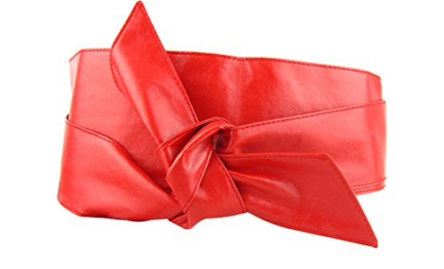 SportsWell Women Soft Pu Leather Self Tie Bowknot Band Wrap Around Obi (Leather Studded Tie)