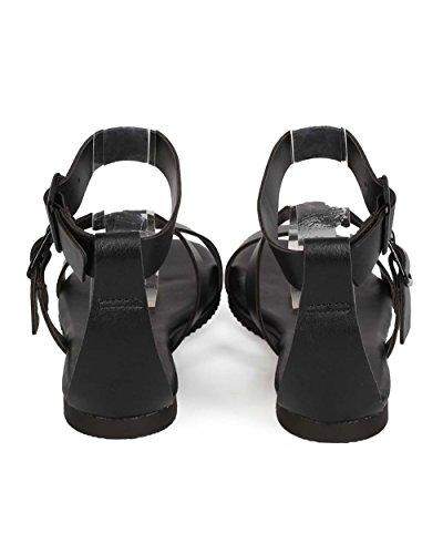 Breckelles Ec90 Femmes Similicuir Boucle Ouverte Orteils Sandales Gladiateur Minimal Noir
