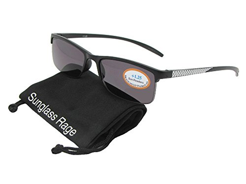 Style R41 Slim Shape Reading Sunglasses With Sunglass Rage Pouch (Black/Silver Frame-Gray Lenses, - By Shop Shape Face Sunglasses