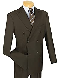 Men's Premium Solid Double Breasted 6 Button Classic-Fit Suit New
