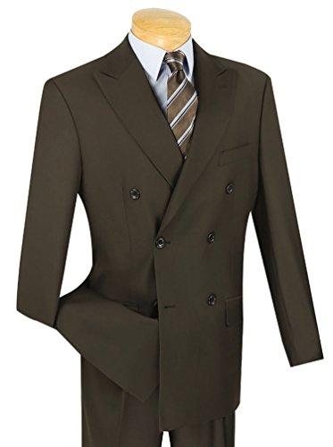 Vinci Men's Premium Solid Double Breasted 6 Button Classic-Fit Suit New [Color Brown | Size: 50 Regular/45 Waist]